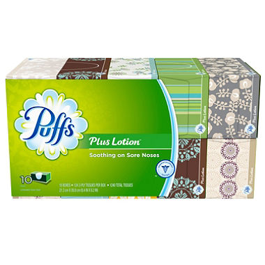 Puffs Plus with Lotion Facial Tissue 124/bx  10/cs