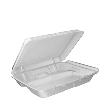 Foam Container, Hinged Lid, 3-Comp, 9 1/2 x 9 1/4 x 3,