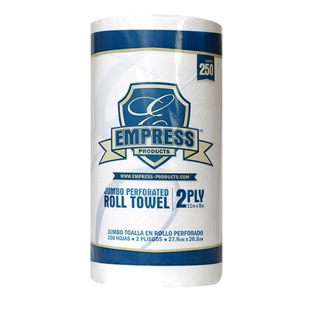 Kitchen Roll Towel, 2-Ply, White, 8 x 11, 250