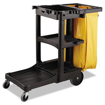 Vinyl Cleaning Cart Bag, 34 Gal, Yellow, 17 1/2w X 10