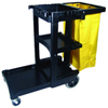 CLEANING CART W/ZIPPER YELLOW VINYL BAG| BLACK