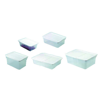 Roughtote clear storage box w/ white lid and built in